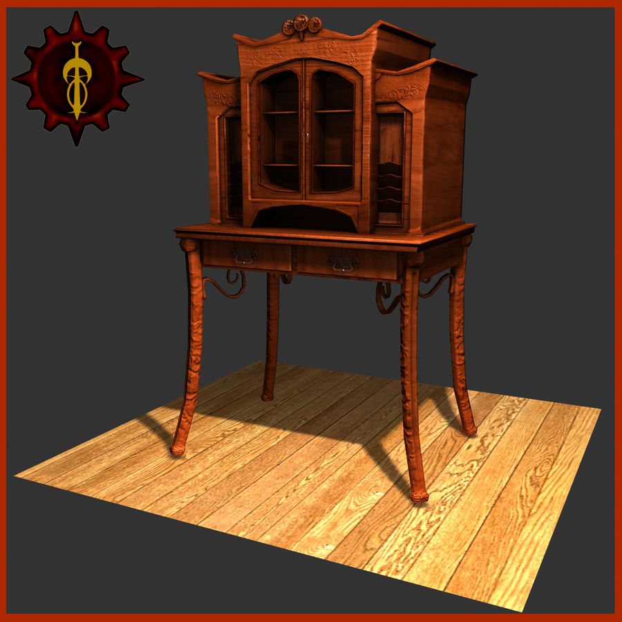 Wood furniture royalty-free 3d model - Preview no. 1
