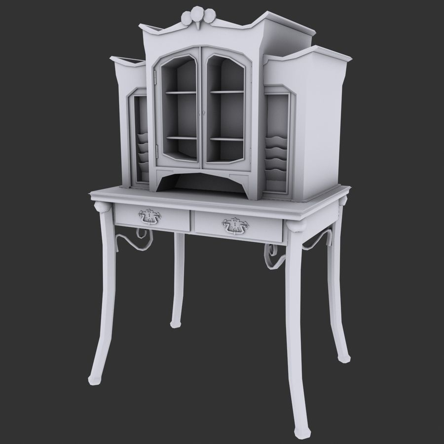 Wood furniture royalty-free 3d model - Preview no. 3
