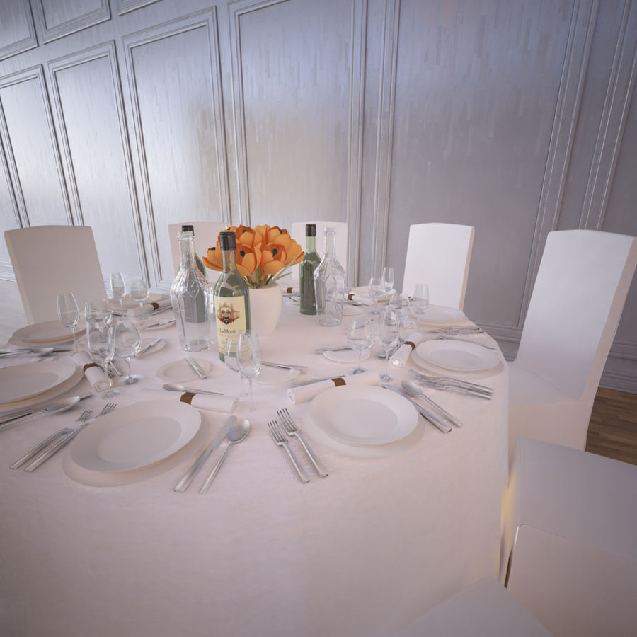 Ballroom Table royalty-free 3d model - Preview no. 2