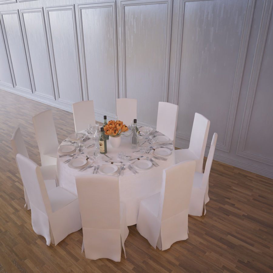 Ballroom Table royalty-free 3d model - Preview no. 4