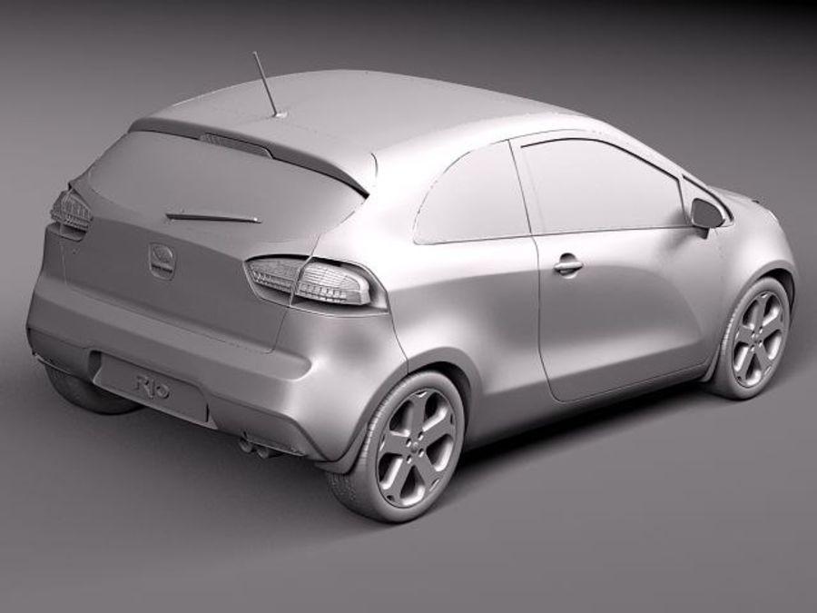 Kia Rio 3-drzwiowy Hatchback 2012 royalty-free 3d model - Preview no. 9