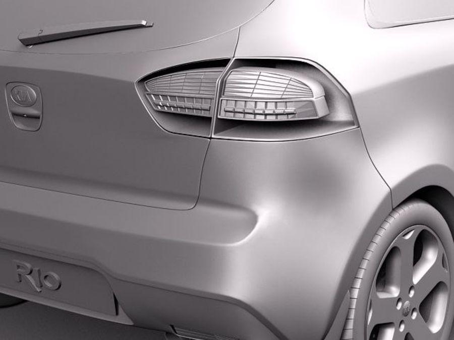 Kia Rio 3-drzwiowy Hatchback 2012 royalty-free 3d model - Preview no. 10