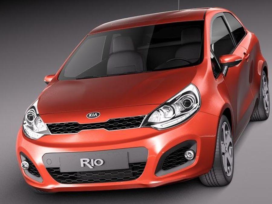 Kia Rio 3-drzwiowy Hatchback 2012 royalty-free 3d model - Preview no. 2