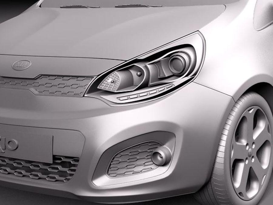 Kia Rio 3-drzwiowy Hatchback 2012 royalty-free 3d model - Preview no. 11