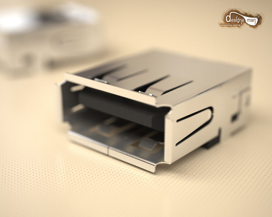 USB 2.0 connector royalty-free 3d model - Preview no. 2
