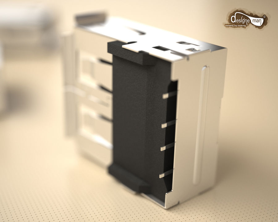 USB 2.0 connector royalty-free 3d model - Preview no. 12
