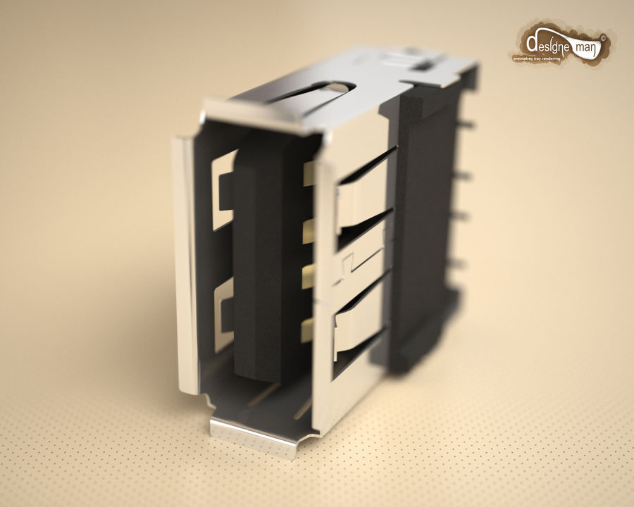 USB 2.0 connector royalty-free 3d model - Preview no. 4