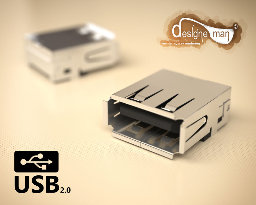 USB 2.0 connector royalty-free 3d model - Preview no. 1