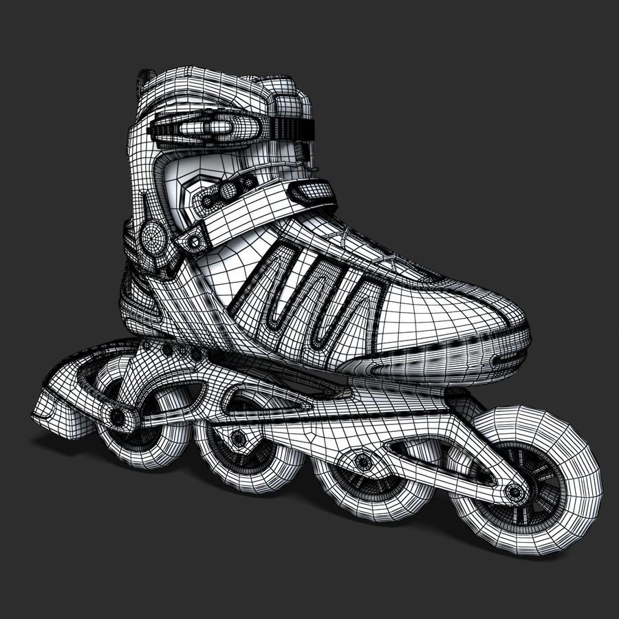 Rollerblades royalty-free 3d model - Preview no. 9