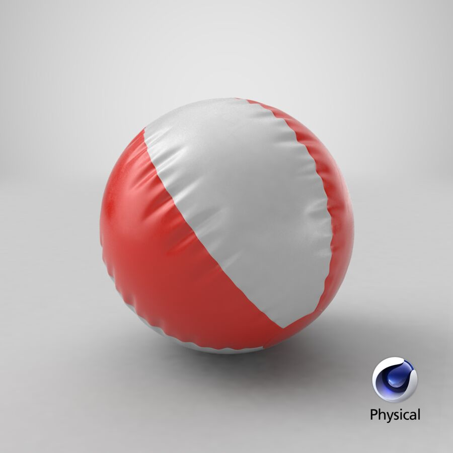 沙滩球1红色 royalty-free 3d model - Preview no. 16