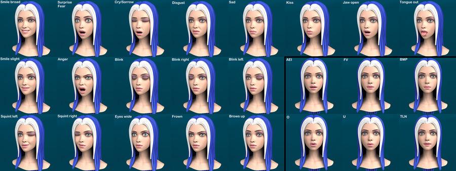 Cartoon meisje hoofd + uitdrukkingen royalty-free 3d model - Preview no. 37