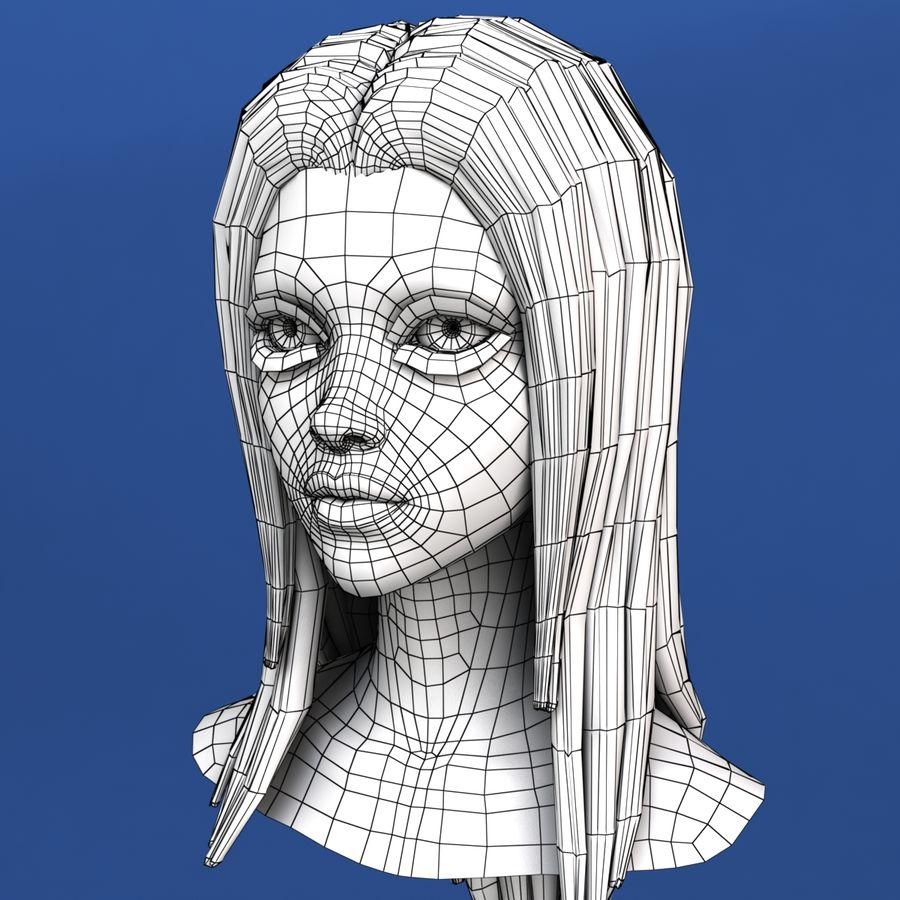 Cartoon meisje hoofd + uitdrukkingen royalty-free 3d model - Preview no. 29