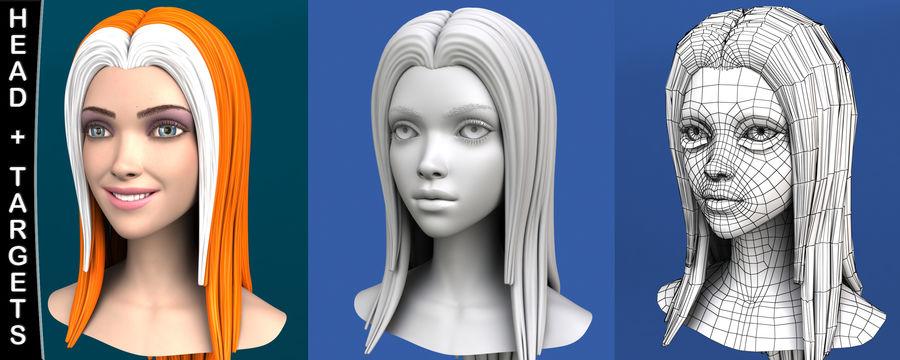 Cartoon meisje hoofd + uitdrukkingen royalty-free 3d model - Preview no. 3