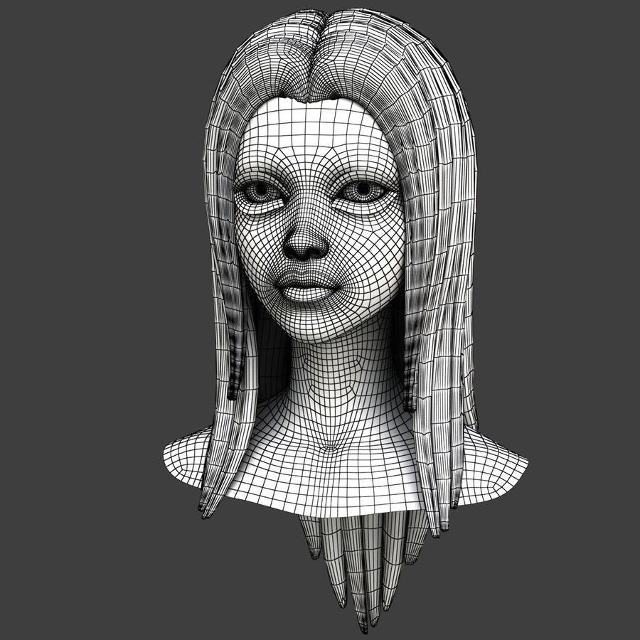Cartoon meisje hoofd + uitdrukkingen royalty-free 3d model - Preview no. 27