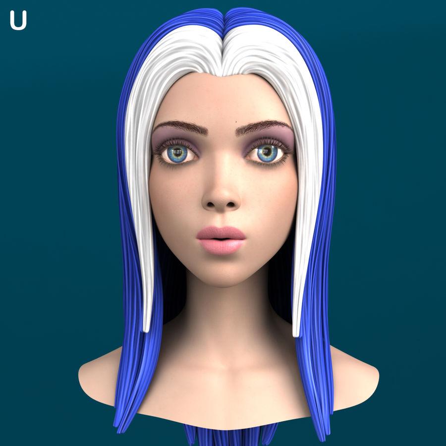 Cartoon meisje hoofd + uitdrukkingen royalty-free 3d model - Preview no. 20