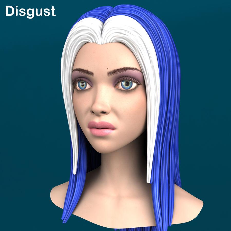 Cartoon meisje hoofd + uitdrukkingen royalty-free 3d model - Preview no. 12