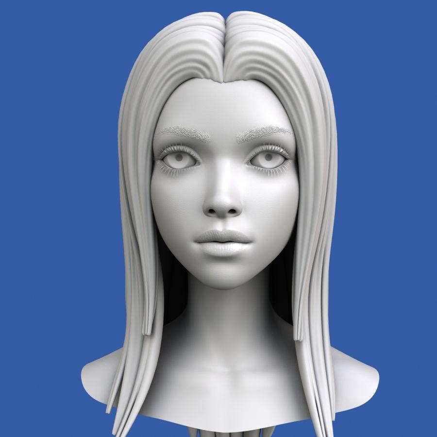 Cartoon meisje hoofd + uitdrukkingen royalty-free 3d model - Preview no. 26