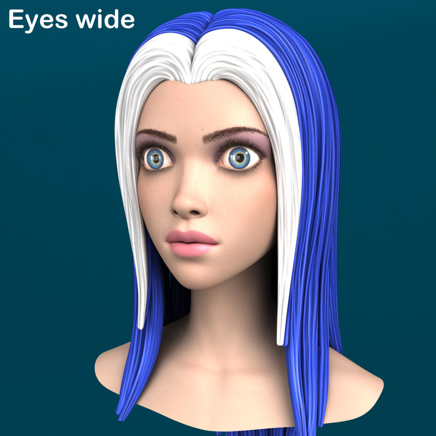 Cartoon meisje hoofd + uitdrukkingen royalty-free 3d model - Preview no. 13