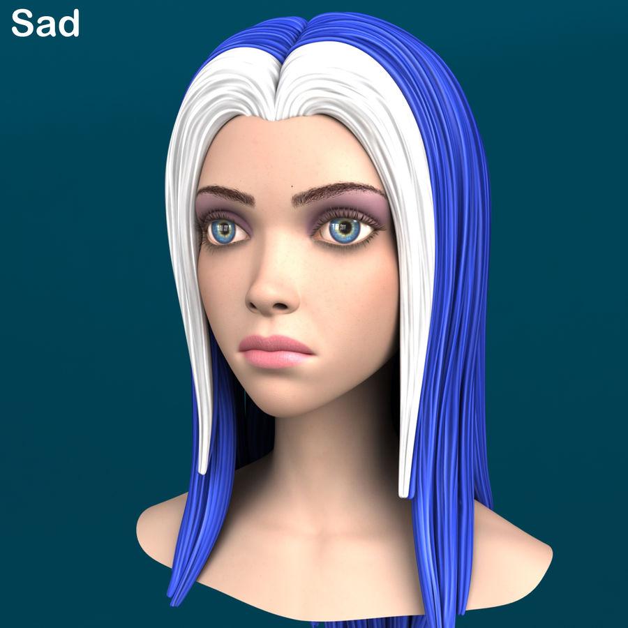 Cartoon meisje hoofd + uitdrukkingen royalty-free 3d model - Preview no. 35