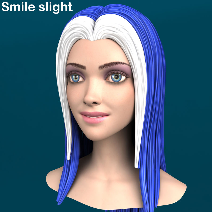 Cartoon meisje hoofd + uitdrukkingen royalty-free 3d model - Preview no. 5
