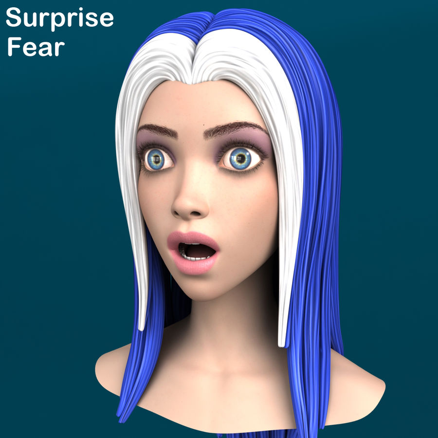 Cartoon meisje hoofd + uitdrukkingen royalty-free 3d model - Preview no. 19