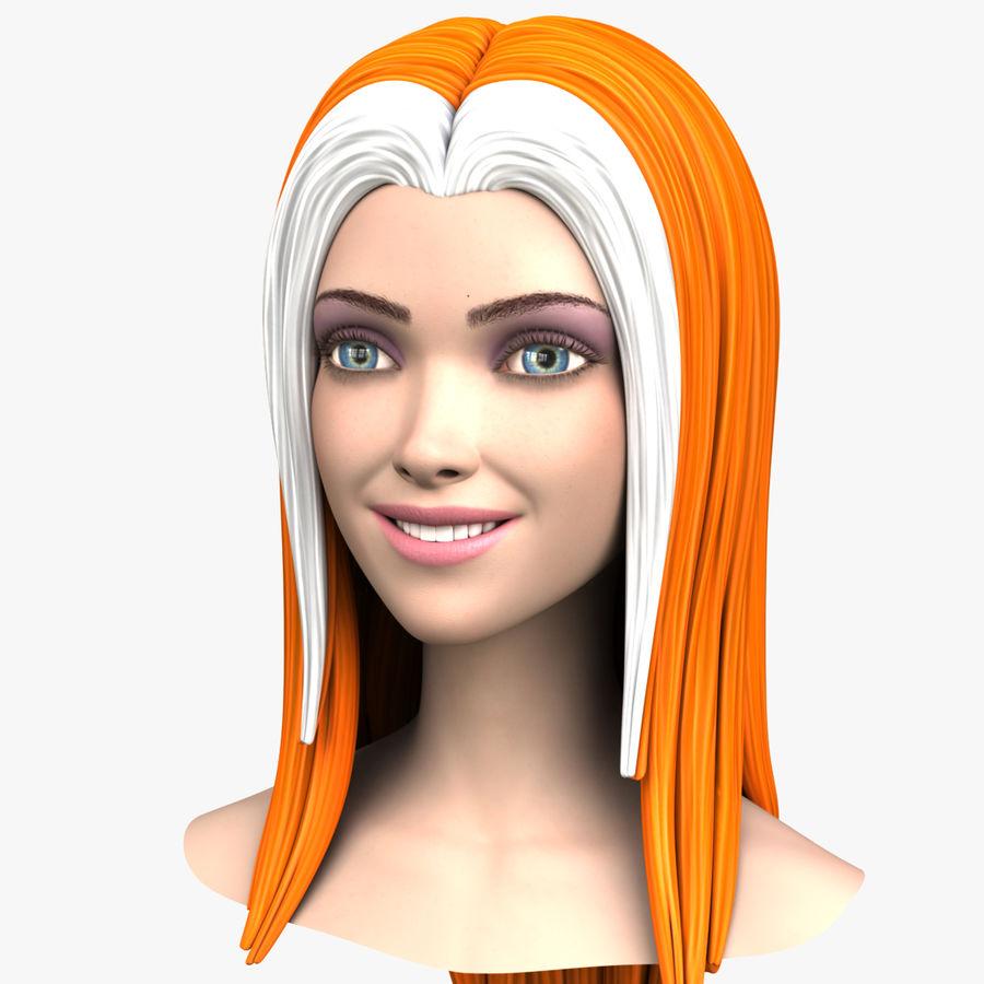 Cartoon meisje hoofd + uitdrukkingen royalty-free 3d model - Preview no. 1
