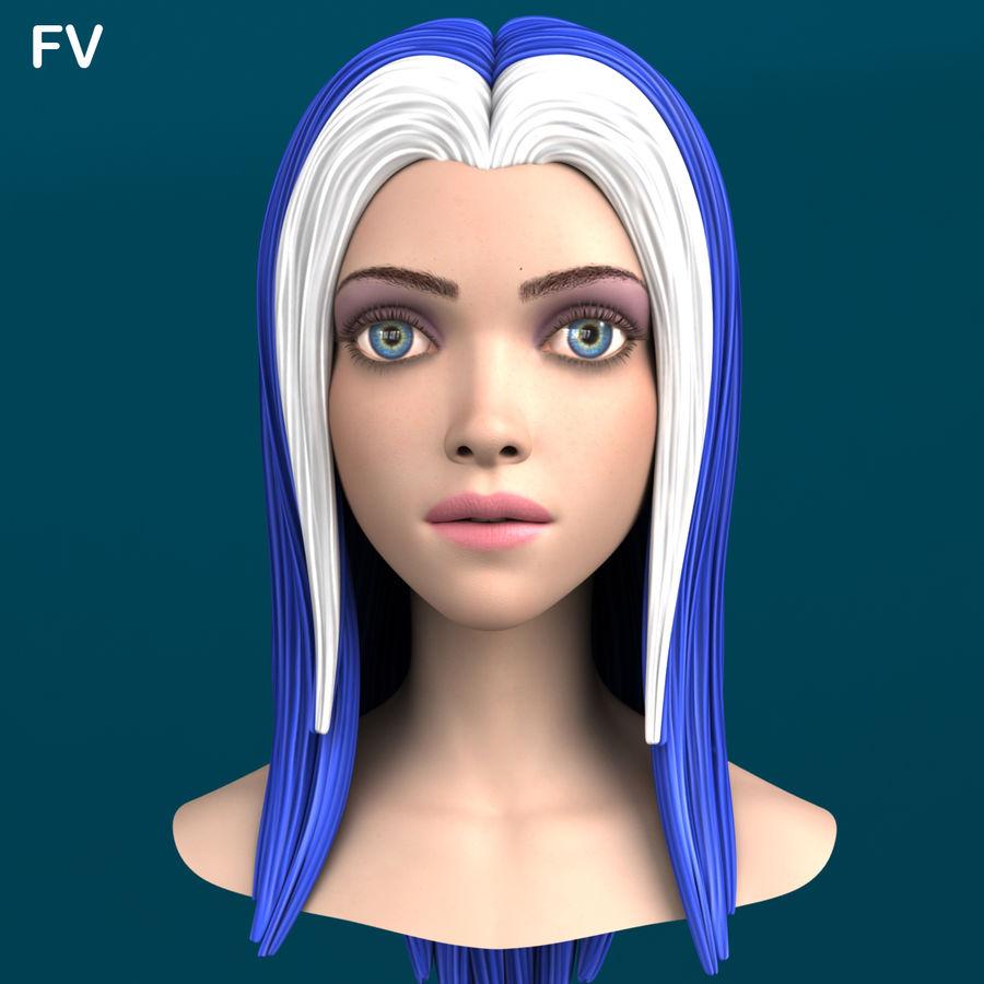 Cartoon meisje hoofd + uitdrukkingen royalty-free 3d model - Preview no. 34