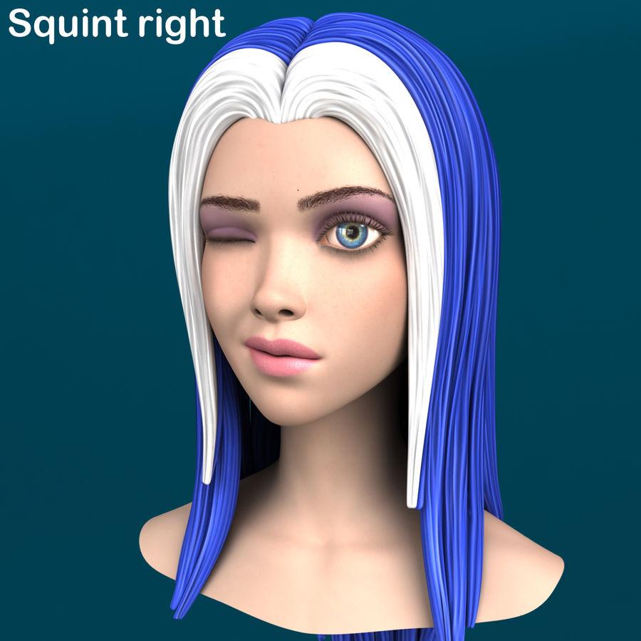 Cartoon meisje hoofd + uitdrukkingen royalty-free 3d model - Preview no. 18