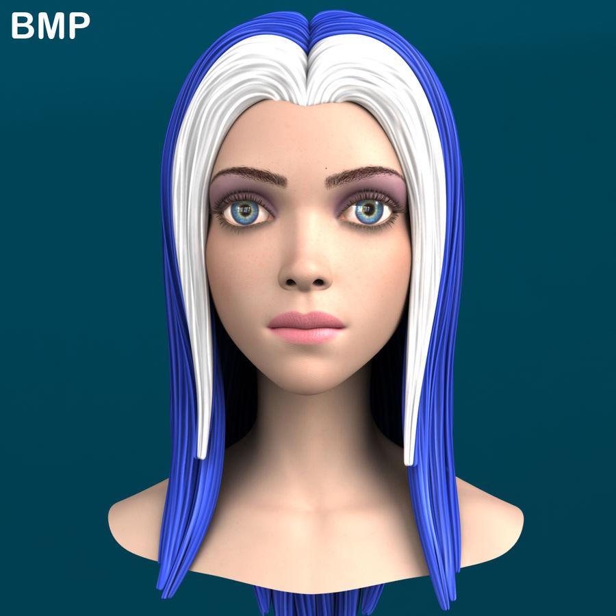 Cartoon meisje hoofd + uitdrukkingen royalty-free 3d model - Preview no. 36