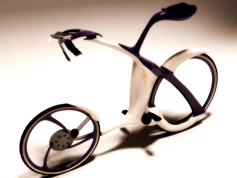 未来派的自行车设计 royalty-free 3d model - Preview no. 5