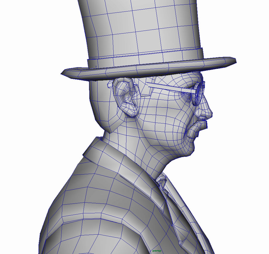 Homem do século XIX royalty-free 3d model - Preview no. 22