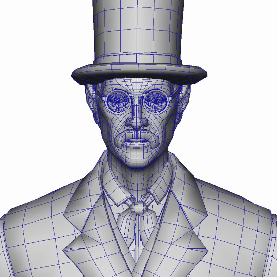 Homem do século XIX royalty-free 3d model - Preview no. 3