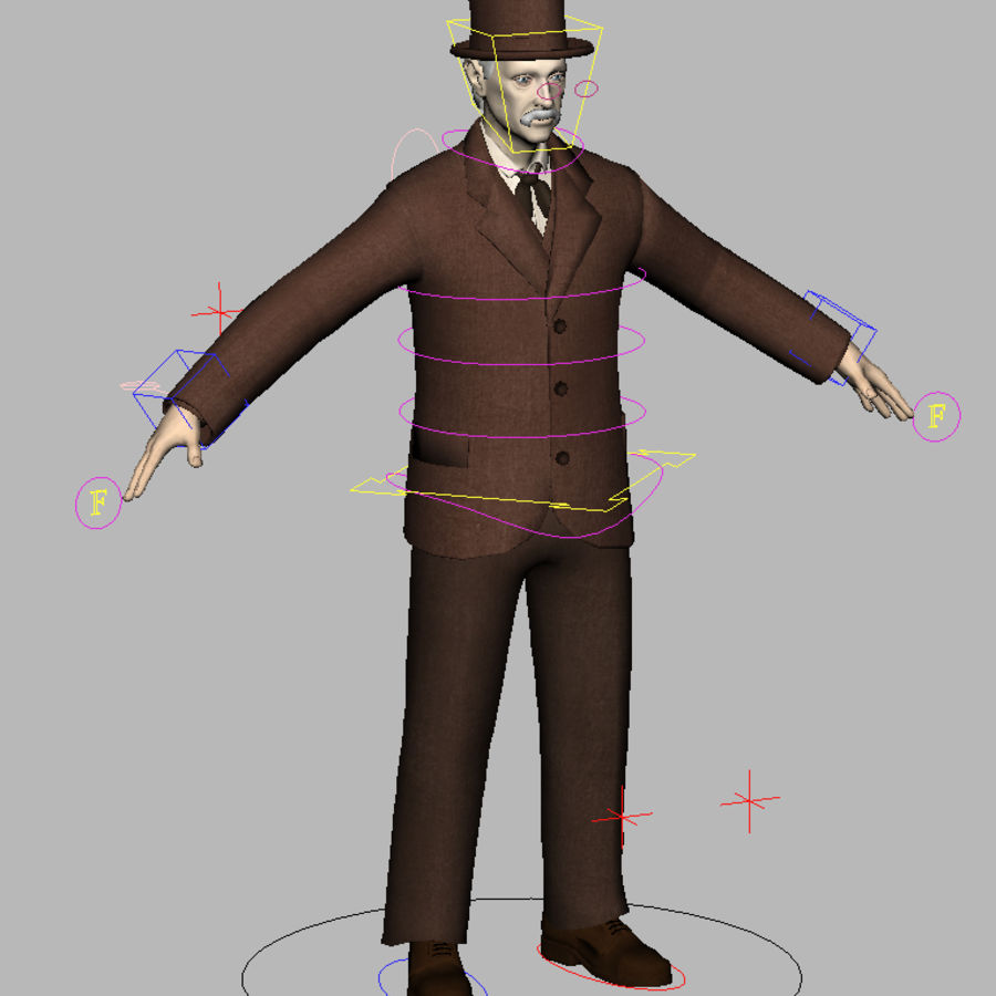 Homem do século XIX royalty-free 3d model - Preview no. 20