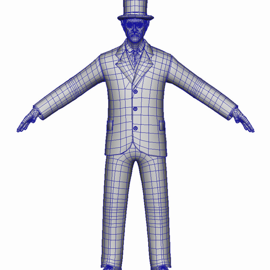 Homem do século XIX royalty-free 3d model - Preview no. 8