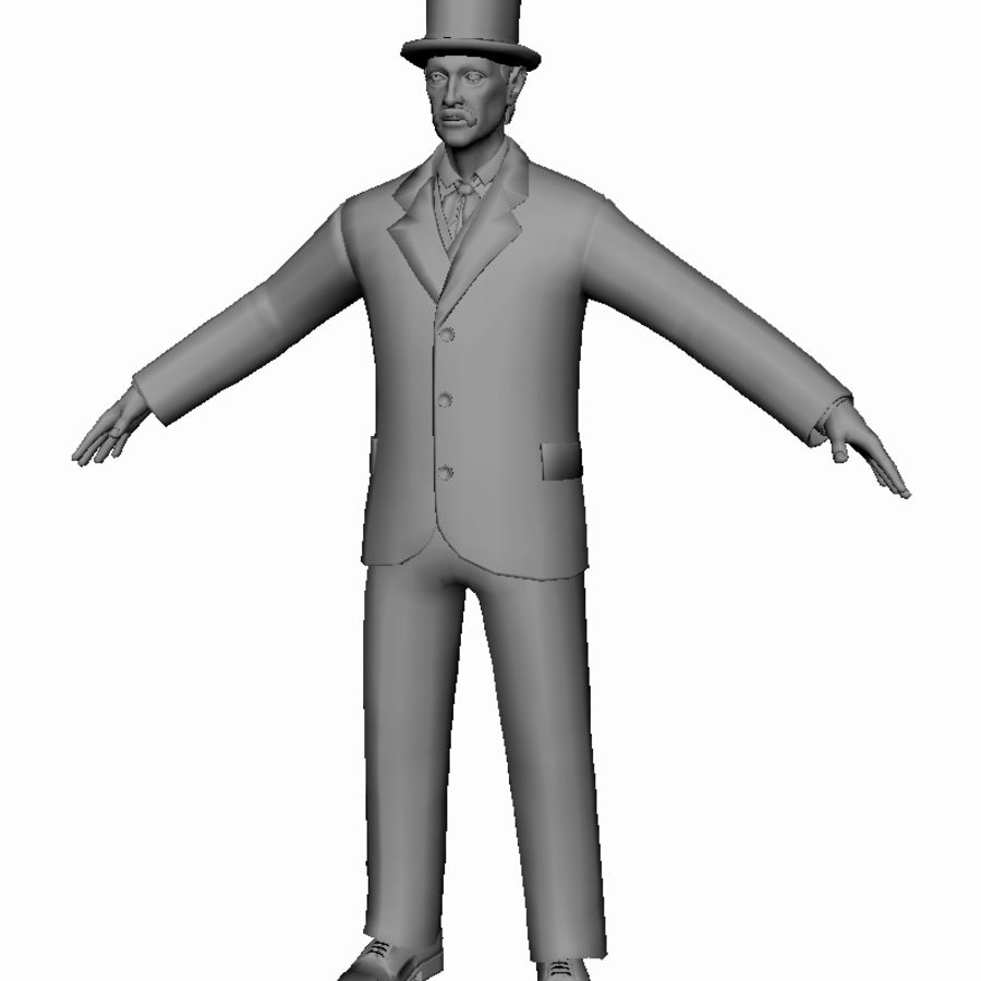 Homem do século XIX royalty-free 3d model - Preview no. 4