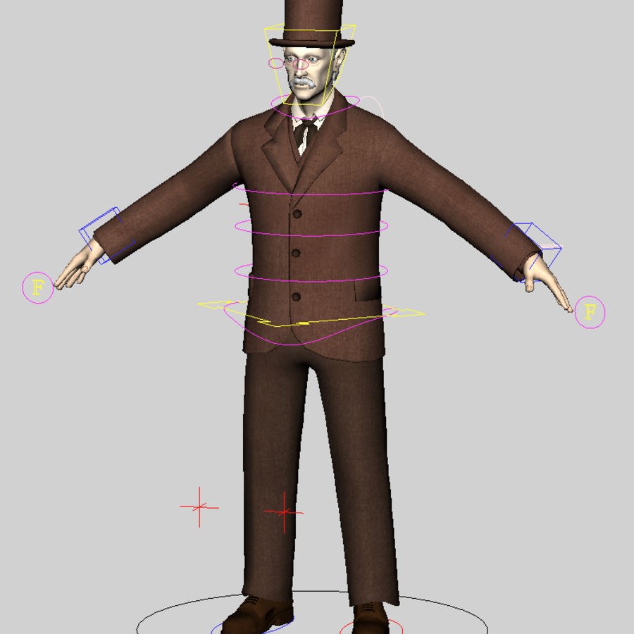 19th century Man royalty-free 3d model - Preview no. 2