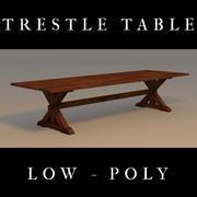 Trestle Table, Low Poly 3d model