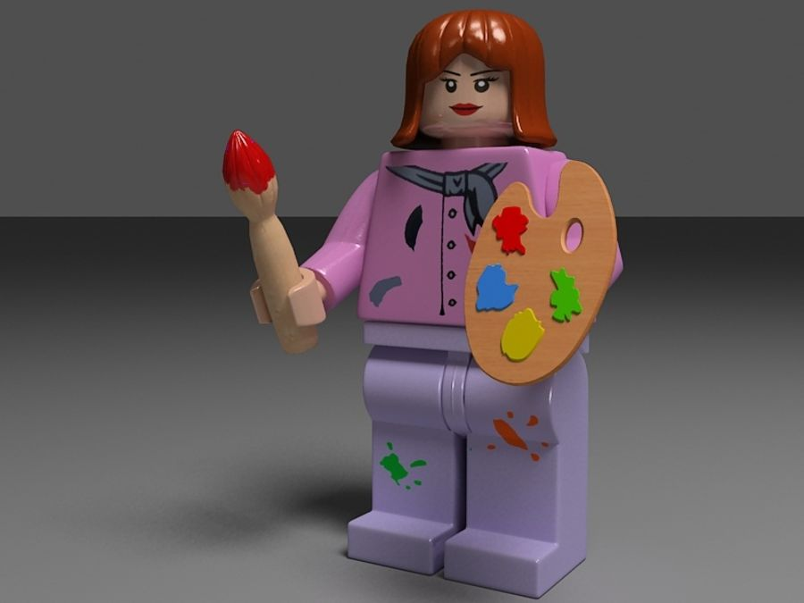 lego vrouw royalty-free 3d model - Preview no. 1