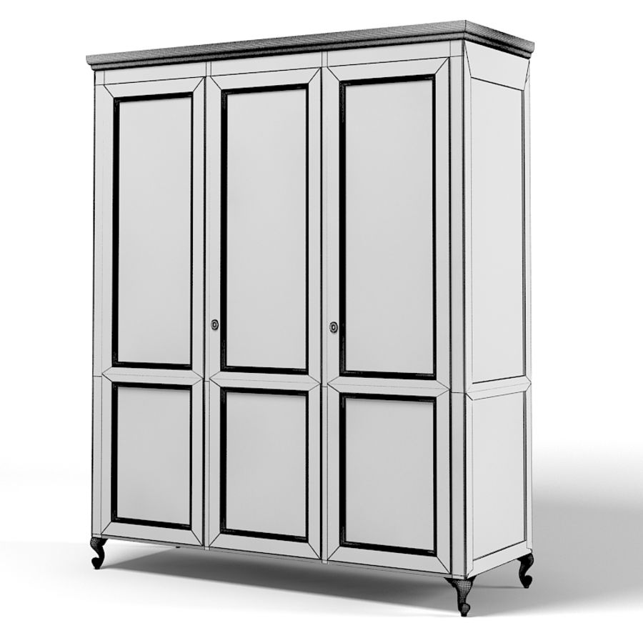 Halley 751Gs Wardrobe Armoire bedroom furniture classic traditional royalty-free 3d model - Preview no. 2