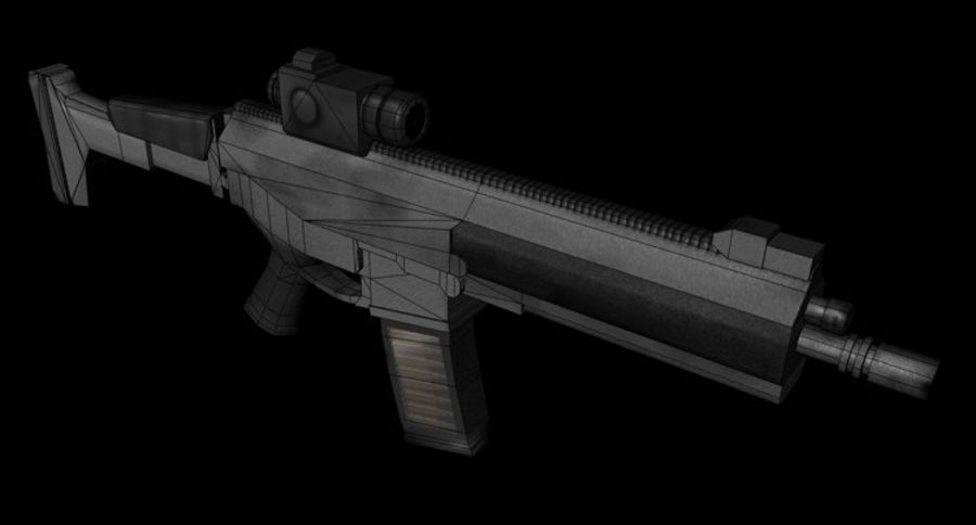 Modern Assault Rifle royalty-free 3d model - Preview no. 4
