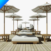 beach furniture collection 3d model