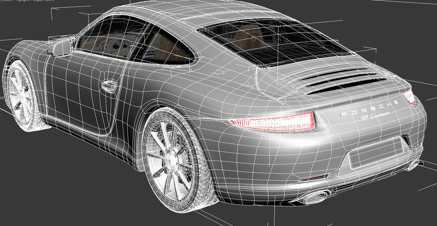 Porsche 911 Carrera 2013 royalty-free 3d model - Preview no. 15