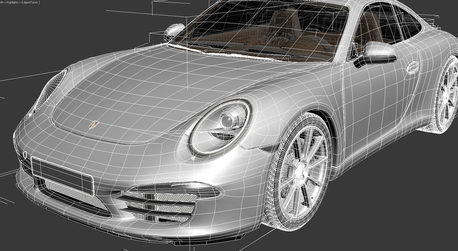 Porsche 911 Carrera 2013 royalty-free 3d model - Preview no. 14