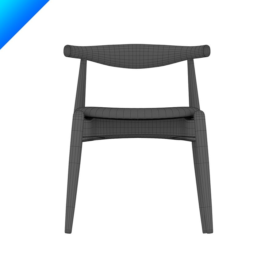 Hans Wegner Ch20 Elbow Chair royalty-free 3d model - Preview no. 10