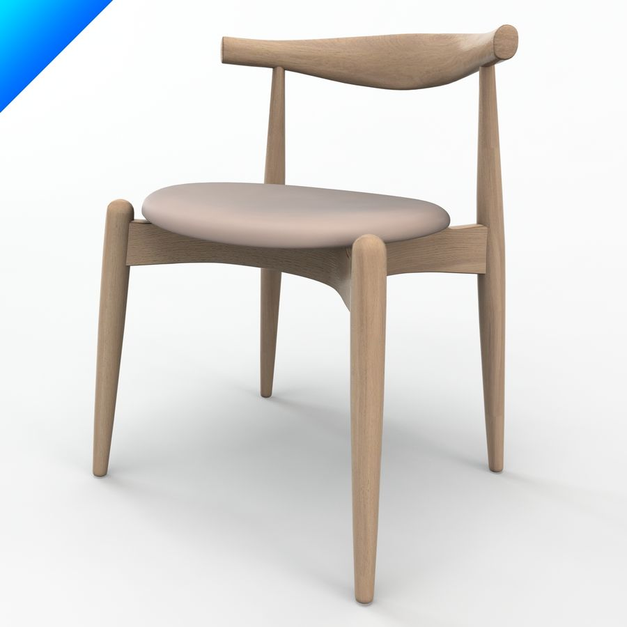 Hans Wegner Ch20 Elbow Chair royalty-free 3d model - Preview no. 8