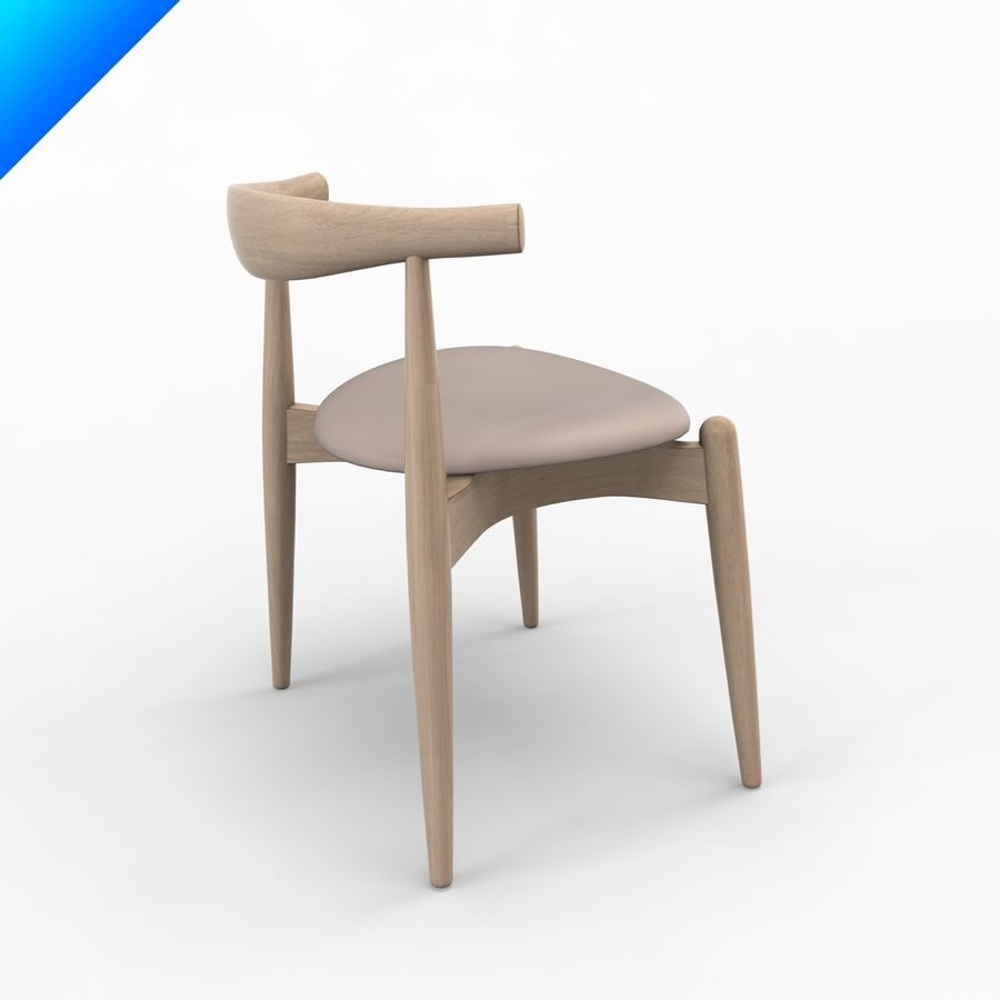 Hans Wegner Ch20 Elbow Chair royalty-free 3d model - Preview no. 2
