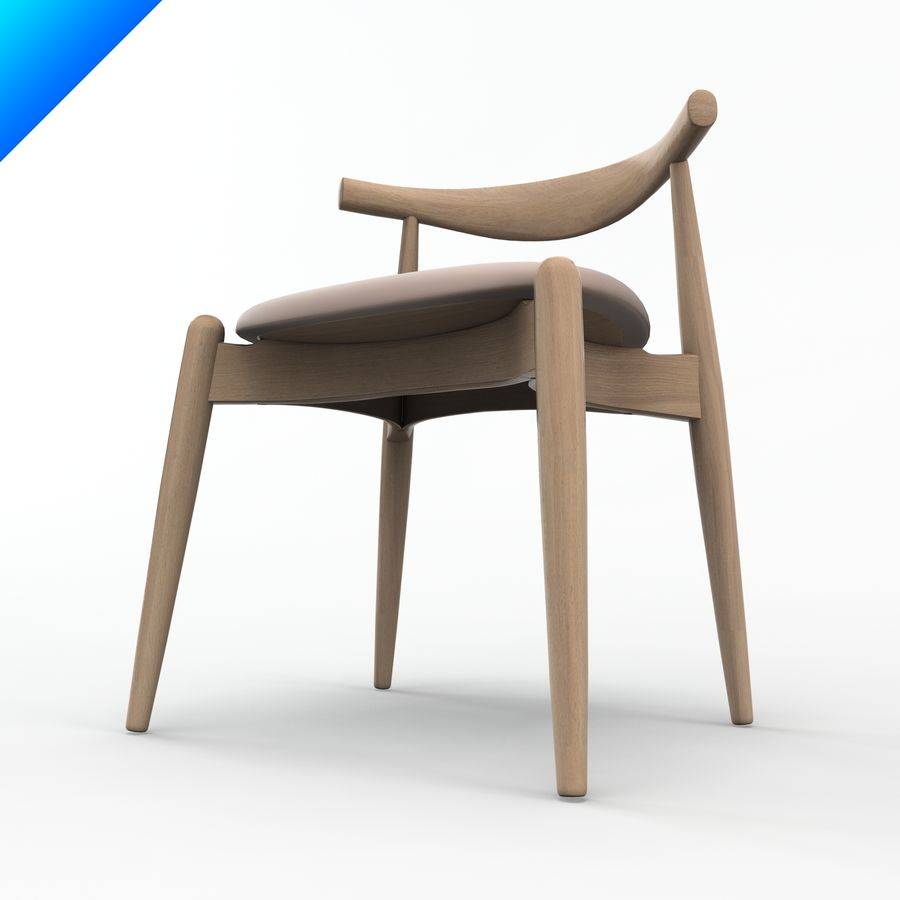 Hans Wegner Ch20 Elbow Chair royalty-free 3d model - Preview no. 6