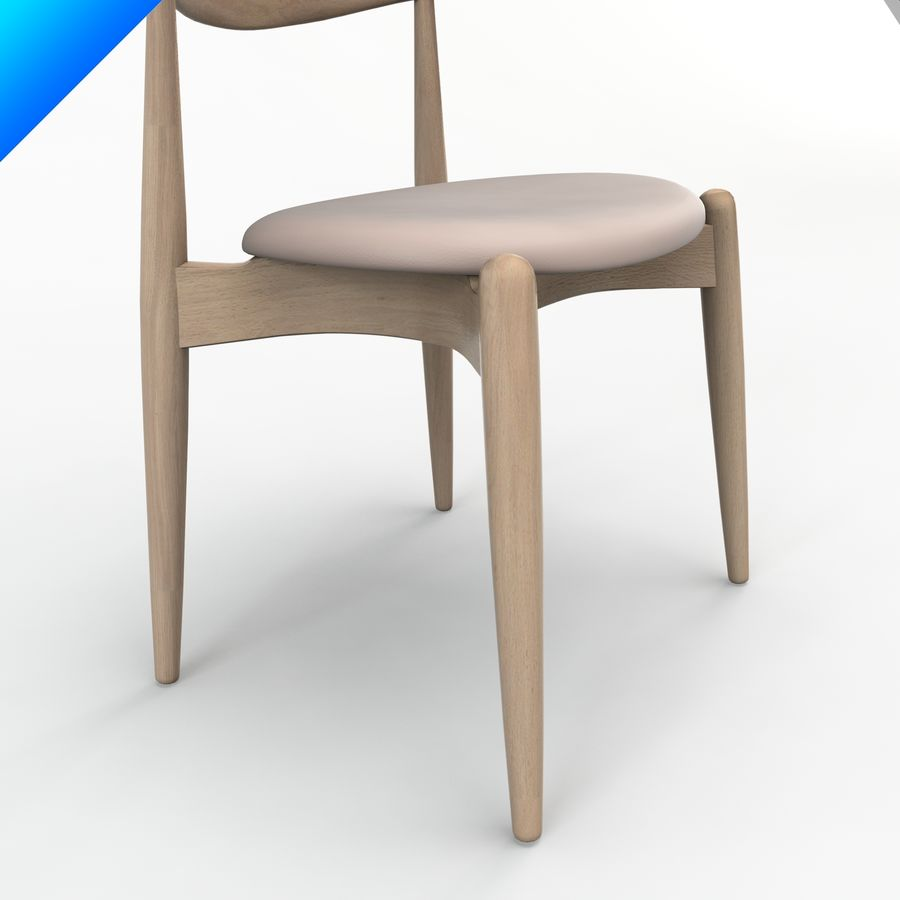 Hans Wegner Ch20 Elbow Chair royalty-free 3d model - Preview no. 7