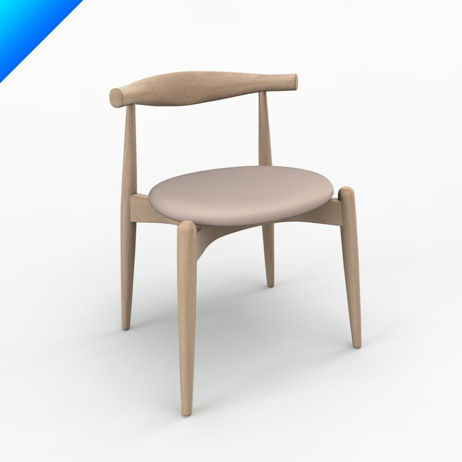 Hans Wegner Ch20 Elbow Chair royalty-free 3d model - Preview no. 1