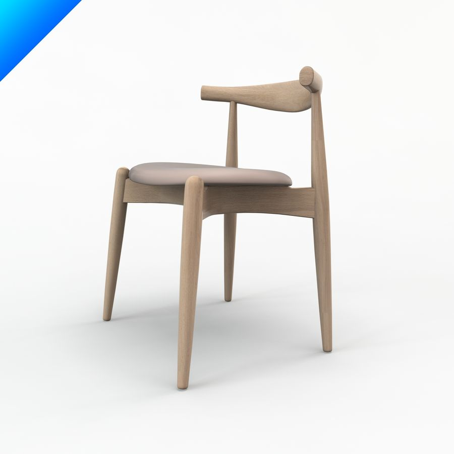 Hans Wegner Ch20 Elbow Chair royalty-free 3d model - Preview no. 4